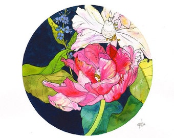 Pink Tulips // A3 Giclée Print // Illustration