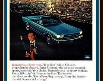 1965 Ford Mustang Convertible vintage print ad- Overlooking San Francisco- Ephemera, decor, to frame, nostalgia, reference