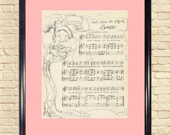 Sheet Music Art, Nursery Rhyme, Sheet Music Wall Art, Mother Goose, Childrens Art, Sheet Music Art Print, Hush a Bye Baby, Shabby Chic.