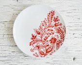 White red painted plate - Decorative plate - Wall plate - Wedding gifts - Wall decor