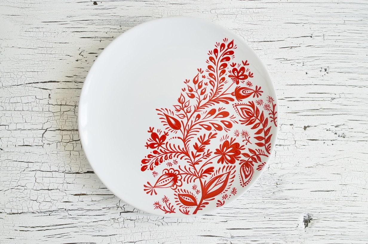 D coration murale plaque peinte rouge blanc cadeaux de for Plaque murale decorative