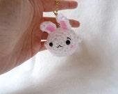 amigurumi fishbunny keychain. fish with bunny ears bag charm.