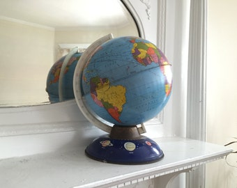 Vintage Ohio Arts Tin/Metal School Globe with Planets