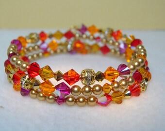 Multi-Color Crystal Memory Wire Bracelet