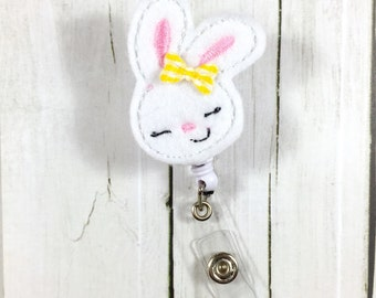 Cute Sping Easter Bunny Rabbit Nurse Badge Holder - Badge Reel / Retractable ID - Teacher
