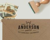 Custom Address Stamp with antlers in a hipster design, return address stamp, wedding stamp, housewarming gift