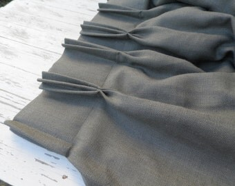 """Trible pinch pleat Gray Burlap Curtain Panel 20""""x68""""- Pre washed Burlap Panel - Lined panel - Handmade seam."""