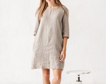 Linen dress, Natural grey linen dress, Loose dress, Linen tunic, Minimal linen tunic, Stone washed, Linen clothes, Organic linen, Dress