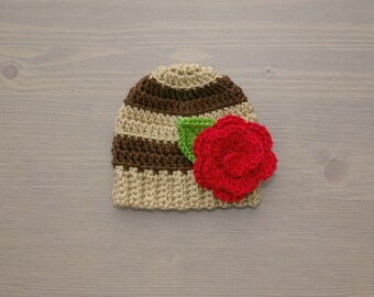 Brown Striped Crochet Baby Beanie with Flower, Crochet Baby Hat, Baby Girl Hat, Crochet Baby Girl, Newborn Photo Prop, Baby Shower Gift