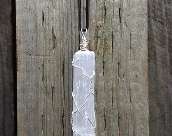 Reiki Charged Selenite Crystal Necklace