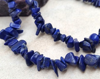 Blue Lapiz Chip Beads 36 inches long