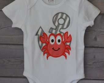 Personalized Boy Crab with Anchor Applique Shirt or Onesie Boy or Girl
