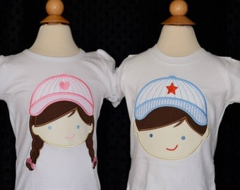 Personalized Baseball Boy and Girl Applique Shirt or Onesie Girl or Boy