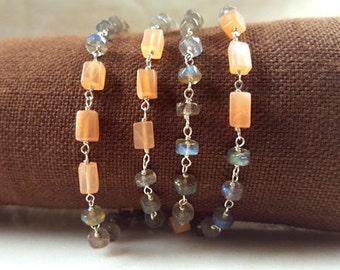 Labradorite, Peach Moonstone, Sterling Silver 36 inch Long Gemstone Sation Necklace Layering Wrap Bracelet Handmade Fine Jewelry Life Bijou
