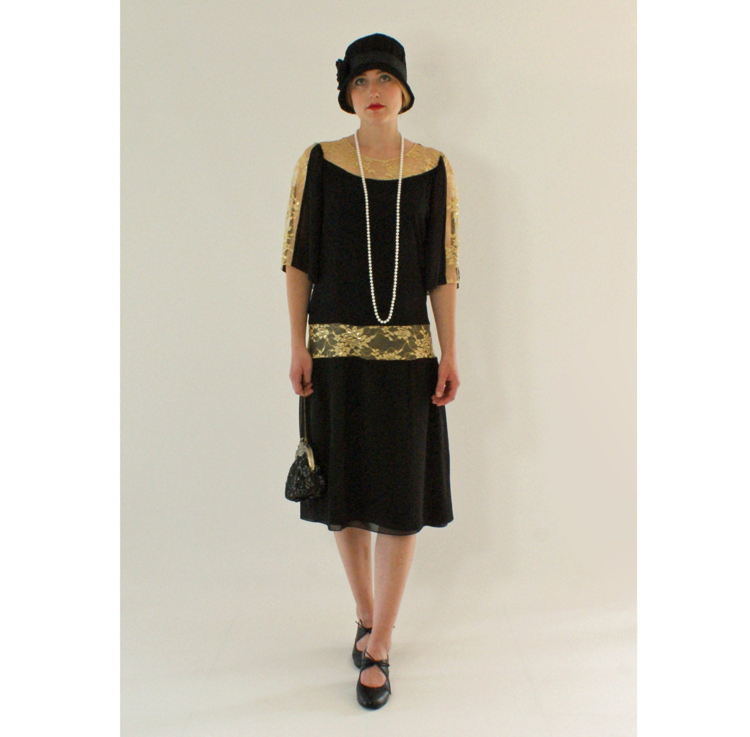 Great Gatsby Dress In Black And Gold 1920s Dress Flapper