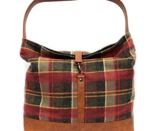 Brown Plaid Hobo Bag, Vegan Leather Hobo Purse, Slouchy Shoulder Bag,Red Plaid Handbag,Boho Chic Handbag,Brown Shoulder Bag,Faux Leather Bag