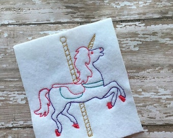 Carousel Horse - Unicorn - Sketch - Redwork style  - 3 Sizes Included - DIGITAL Embroidery DESIGN
