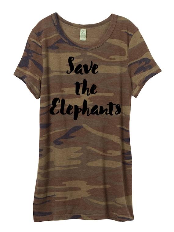 Woman Camo Shirt, Save the Elephants T-shirt, elephants, eco jersey shirt, women's,  ladies, Camouflage, Small, Medium, Large, XL