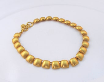 Anne Klein Necklace Signed AK Matte Gold Tone Metal Linked Discs 1980's Collectible Gift Item 1584