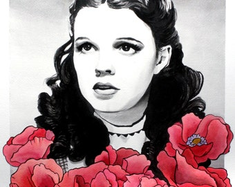 Wizard of Oz Original Dorothy w/ Poppies Ink painting