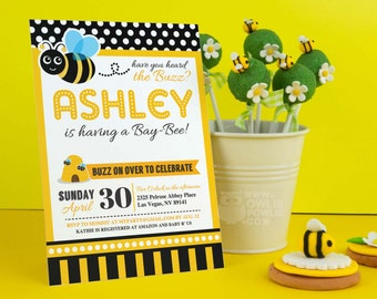 Bumble Bee BABY Shower Party Printable 5 x 7 inch Invitation, INSTANT DOWNLOAD, You Edit Yourself with Adobe Reader
