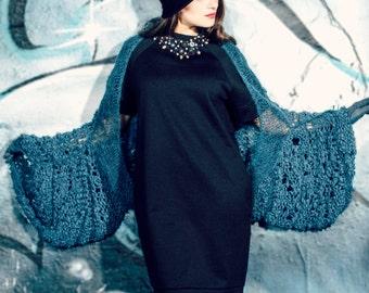 shrug long sleeve - loose knit - wool shrug - avantgarde clothing - unique clothing - fall fashion