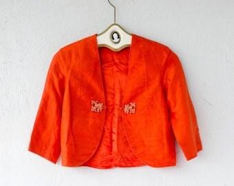 Vintage 50s 60s Asian Cropped Silk Jacket // Orange Bolero Crop Top Shirt