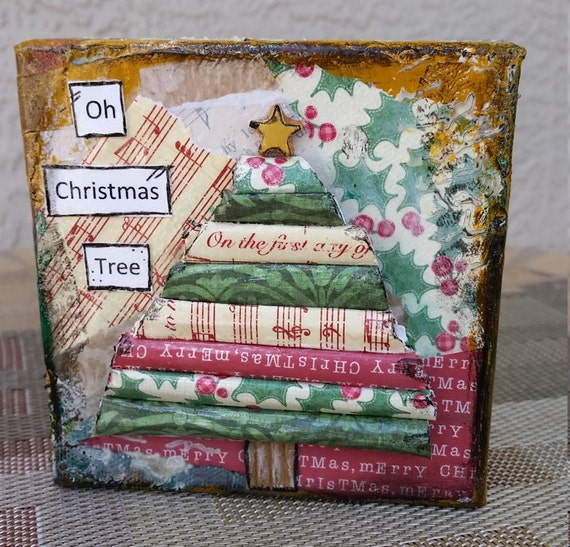 Clearance Christmas Tree Mixed Media 4x4 Canvas O Christmas