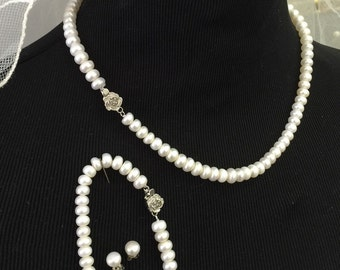 Pearl necklace set, bridal jewelry, bridesmaid jewelry