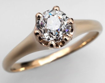 Antique Early 1900's Old European Diamond Solitaire Engagement Ring 14K Yellow Gold WM9231