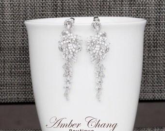 CZ drop Bridal earrings, crystal drop earrings, crystal wedding earrings, bridesmaid earrings, wedding jewelry, bridal earings