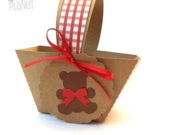 Teddy Bears Picnic Mini Baskets. Birthday party or baby shower favors, gift box, thank you gifts. Party favor box, table decorations.
