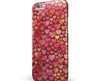 Red Watercolor Hearts -  iNK-Fuzed Hard Case for the Apple iPhone - Samsung Galaxy & More