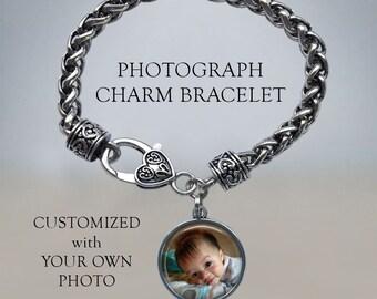 Photograph Bracelet - Photo Bracelet - Custom Picture Bracelet - Photo charm bracelet - twist bracelet - heart clasp bracelet