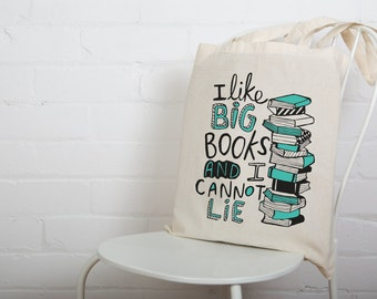 Big Books Bag - Illustrated Screen Printed Tote Bag - Made in the UK - Book Worm - Reading Pun - Katie Abey