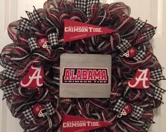 Alabama Crimson Tide  Wreath, Alabama Wreath, Crimson Tide Wreath,  Football Wreath,Alabama Booster Club, College Wreath, Team Wreath