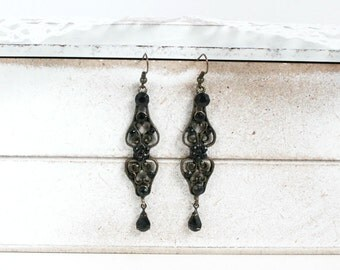 Vintage Black Old Earrings, Boho Earrings, Bohemian Earrings, Big Earrings, Dangle Earrings
