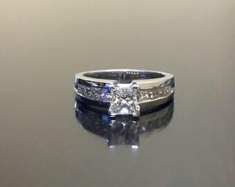 14K White Gold Princess Cut Diamond Engagement Ring - 14K Gold Diamond Wedding Ring - Princess Cut Diamond Solitaire - 14K Diamond Ring