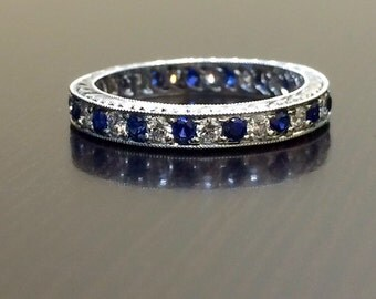 Art Deco Platinum Eternity Blue Sapphire Diamond Engagement Band - Diamond Eternity Sapphire Wedding Band - Engraved Platinum Eternity Band