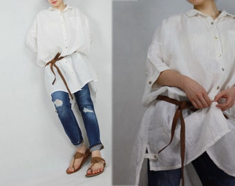 318---Women's Oversized Linen Shirt / Dress , Boyfriend Shirt, Button-down Linen Top, The Big Shirt, Half Sleeves.