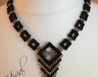 "Tutorial/Beading pattern  ""Geometry"" Necklace English"