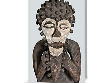 African Art Greeting Card 4x6 or 5x7.5 - Blank Inside / Mambila Tadep Figure / Orig Fine Art Photography