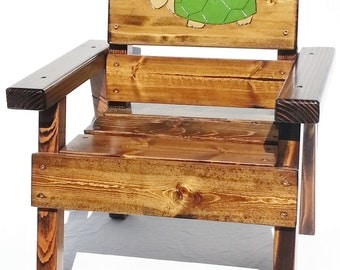 Kids Outdoor Furniture Turtle Chair, Wood Kids Chair, Painted Outdoor Furniture, 1st Birthday Gift, Boys/ Girls/ Toddler +, Reclaimed Wood