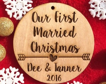 Our First Married Christmas Ornament - Personalized Wood Ornament, Just Married, First Christmas Married, Wedding Gift, Mr. and Mrs., Modern