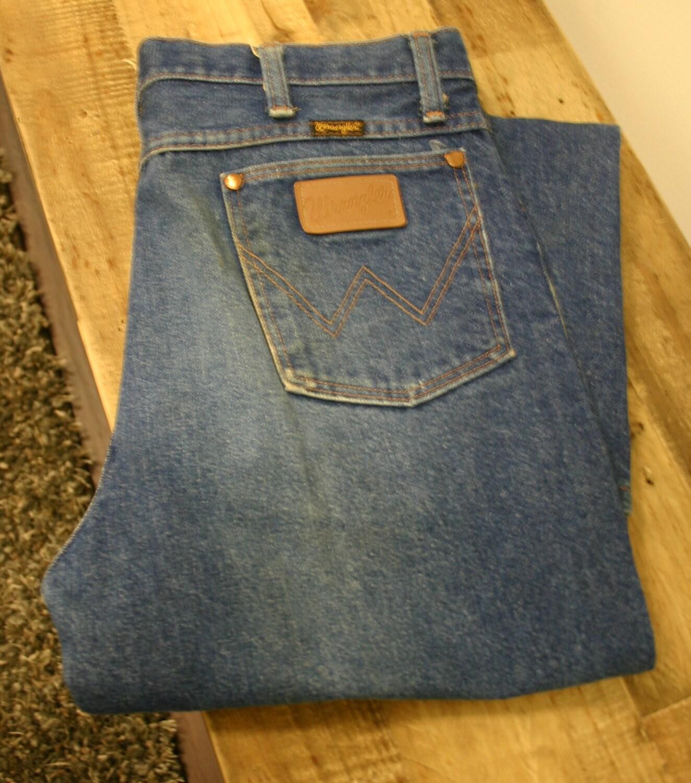 old school wrangler jeans made in usa size 36 32 very slight. Black Bedroom Furniture Sets. Home Design Ideas