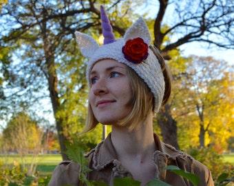 Unicorn Headband,Purple Horn,Headband,Knit Headband,Cosplay, My little pony, Festival Headband,White Headband,Crochet Flower