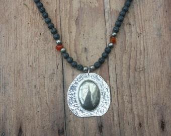 Lava necklace, Pyrite pendant, Sterling silver pendant, Hallmarked silver, Statement necklace, Gemstone necklace, Bohemian necklace,