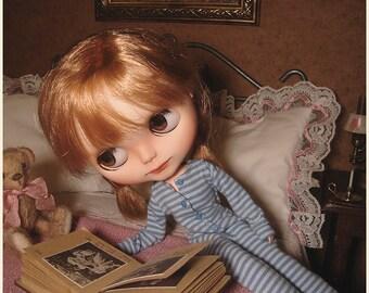 Blythe clothes | Union Suit | Old Blue Stripes | Blythe outfit | bum flap | one piece | pajamas | Blythe doll | custom | Little Bohemians
