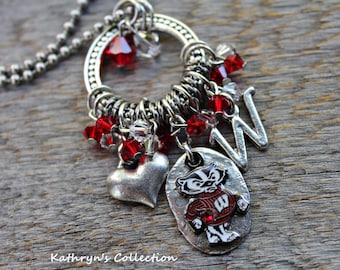 Wisconsin Badgers Necklace, Badgers Necklace, Badgers Jewelry, UW Wisconsin Jewelry, Bucky Badger Necklace