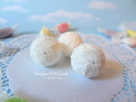 FAUX Fake White Chocolate Coconut Truffle set REALISTIC Kitchen Decor Display